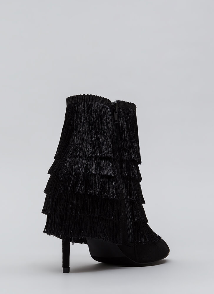 It Factor Shaggy Fringed Booties BLACK