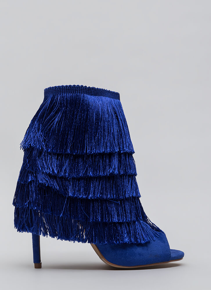 It Factor Shaggy Fringed Booties NAVY