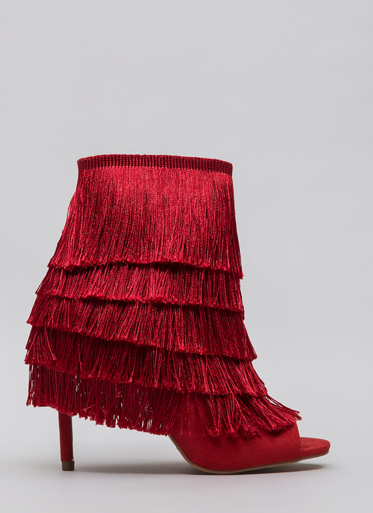 It Factor Shaggy Fringed Booties RED