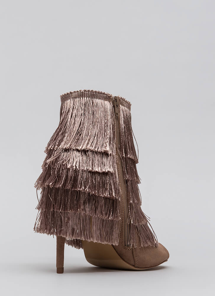 It Factor Shaggy Fringed Booties TAUPE (Final Sale)