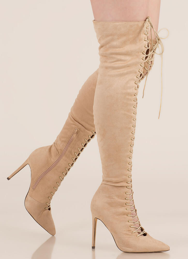 On Point Lace-Up Thigh-High Boots NUDE