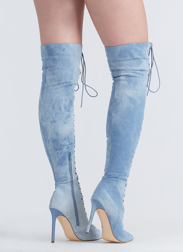 On Point Denim Lace-Up Thigh-High Boots DENIM
