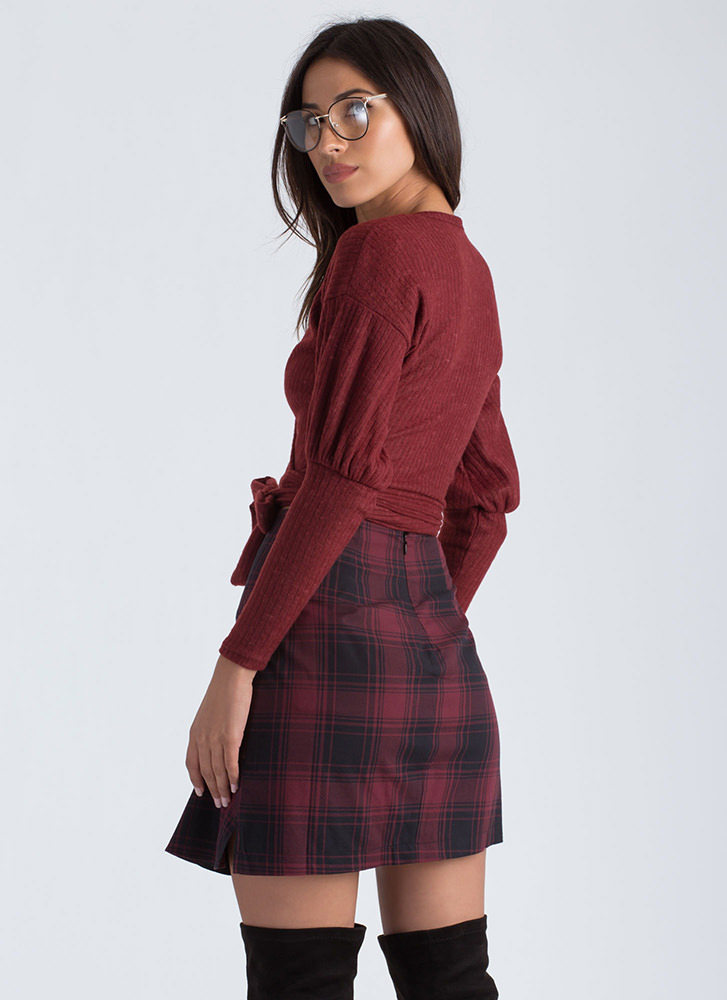 Ballerina Dreams Knit Wrapped Crop Top BURGUNDY