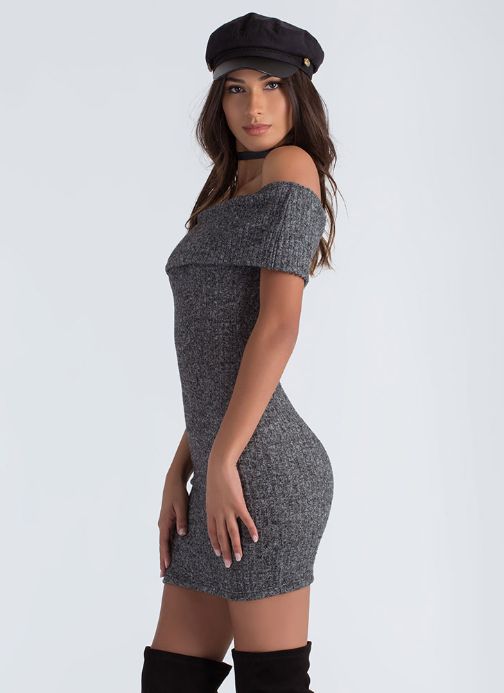 Fold Up Off-Shoulder Sweater Dress CHARCOAL (Final Sale)