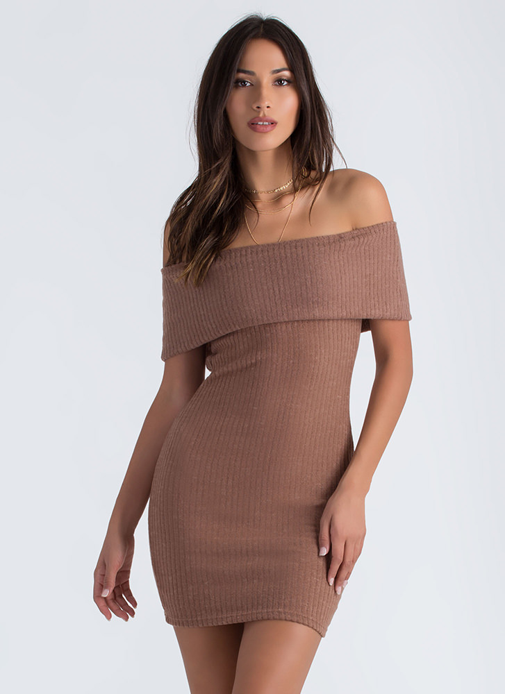 Fold Up Off-Shoulder Sweater Dress MOCHA (Final Sale)