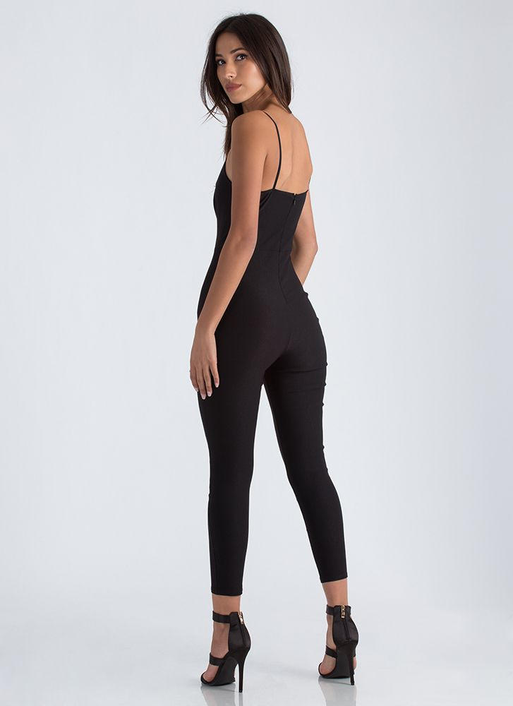 In Too Deep Plunging Cropped Jumpsuit BLACK