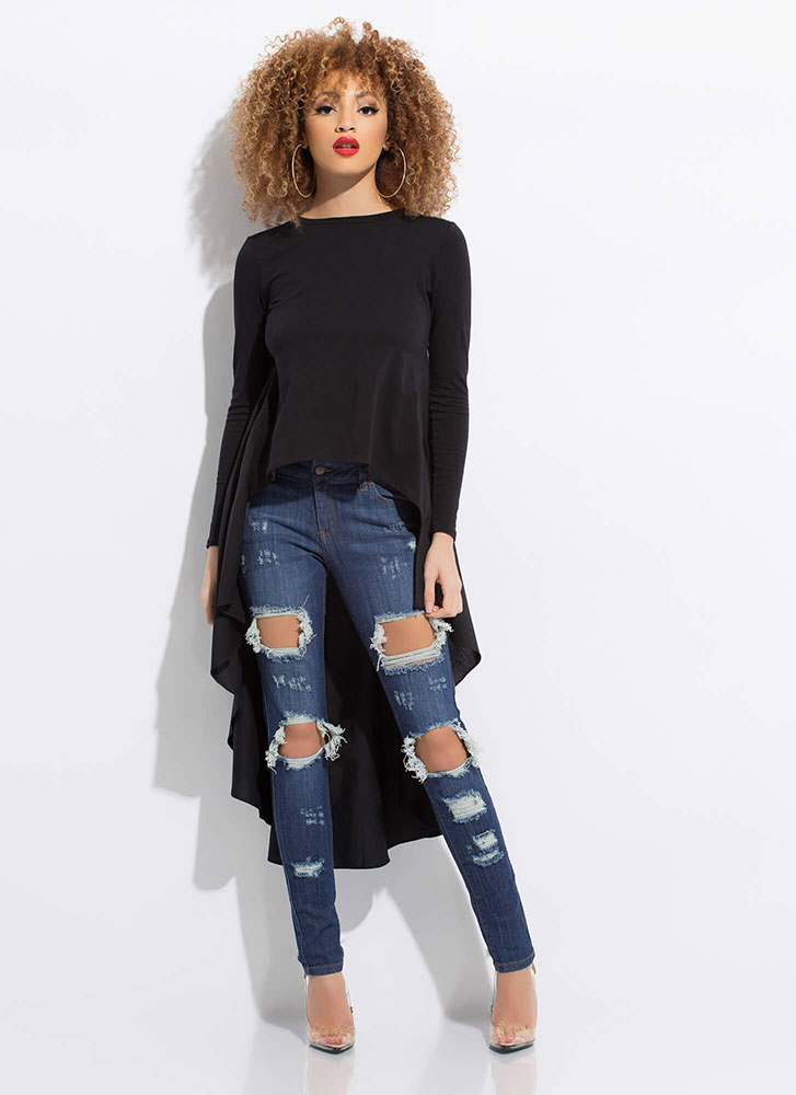 Ride My Shirttails Draped High-Low Top BLACK