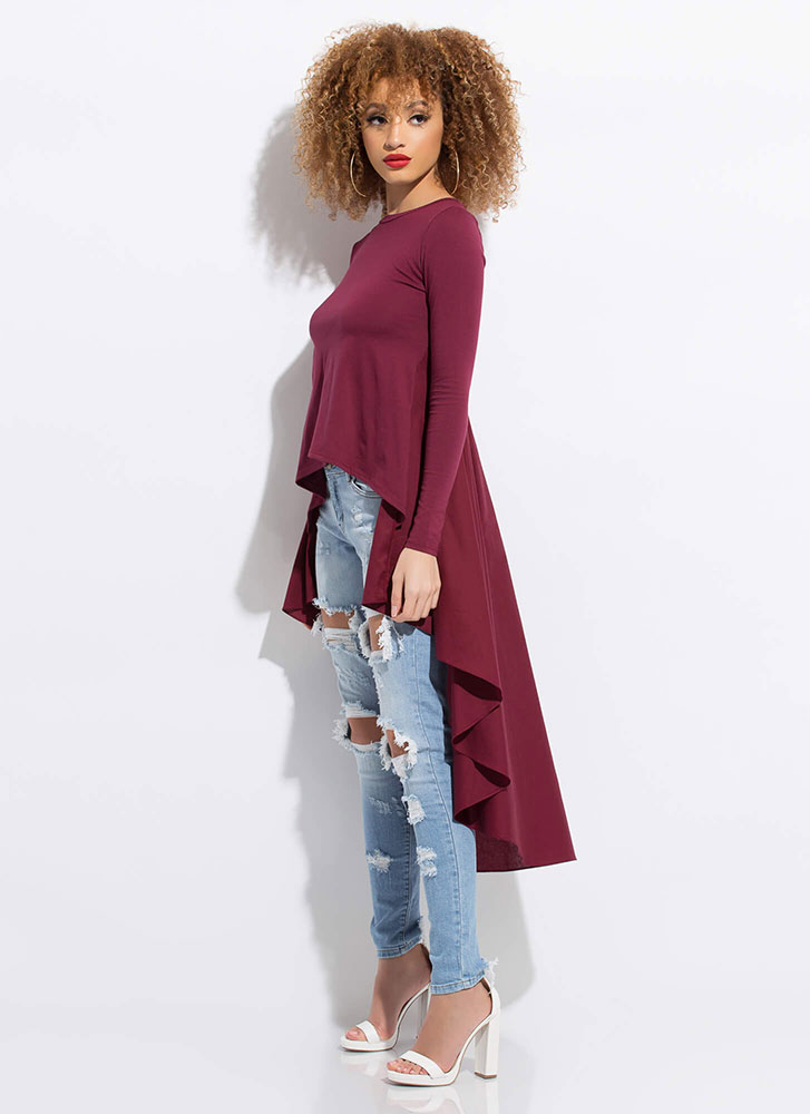 Ride My Shirttails Draped High-Low Top BURGUNDY