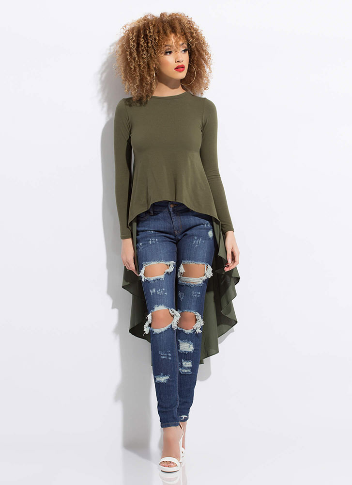 Ride My Shirttails Draped High-Low Top OLIVE