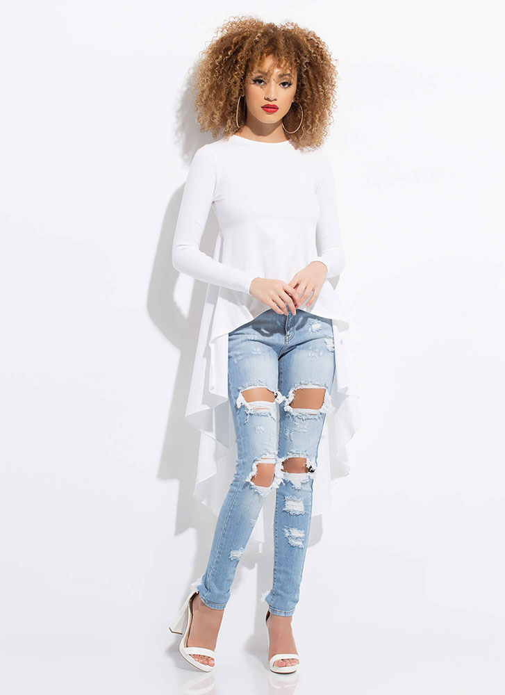 Ride My Shirttails Draped High-Low Top WHITE