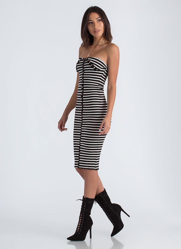 Oh Snap Buttoned Striped Tube Dress BLACK