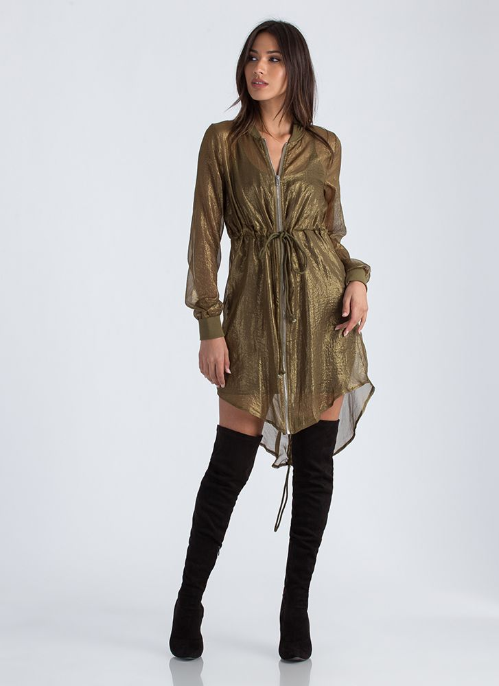 Light Breeze Glittery Drawstring Jacket OLIVE