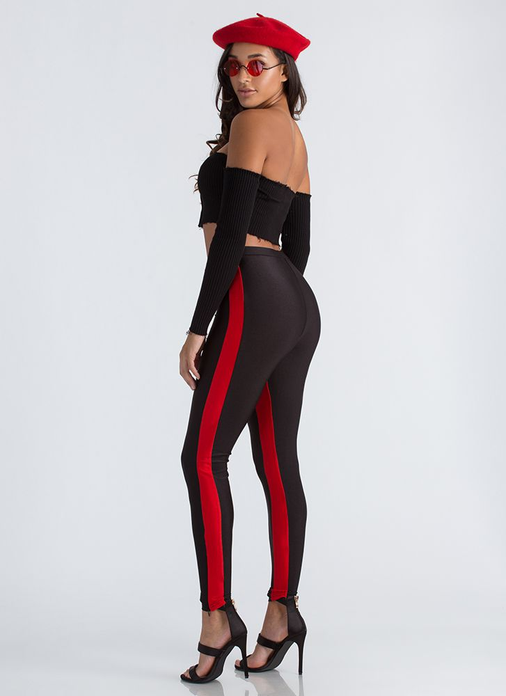 Need For Speed Racer Stripe Leggings BLACKRED