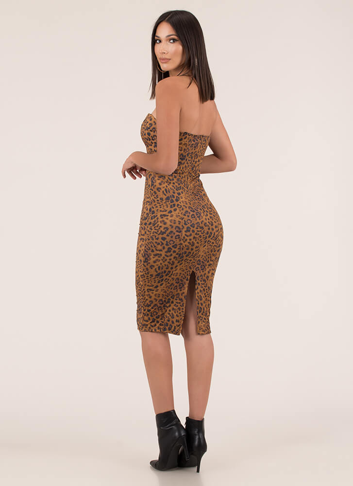 On The Prowl Strapless Leopard Dress LEOPARD