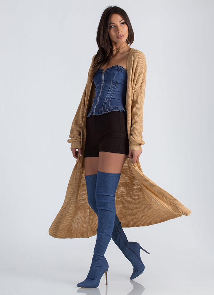 Knits Gonna Be Me Duster Cardigan CAMEL