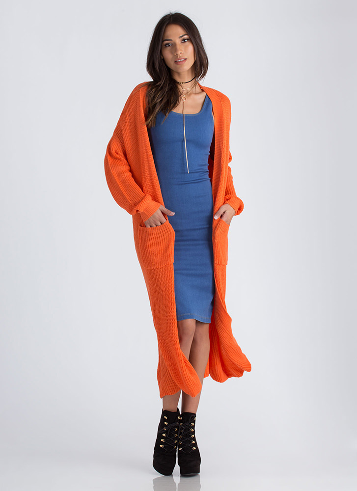 Knits Gonna Be Me Duster Cardigan ORANGE