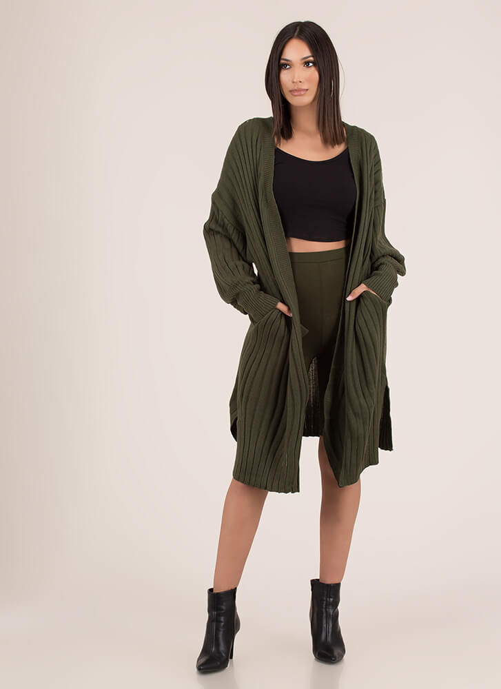 Warming Trend Puffy Sleeve Cardigan OLIVE