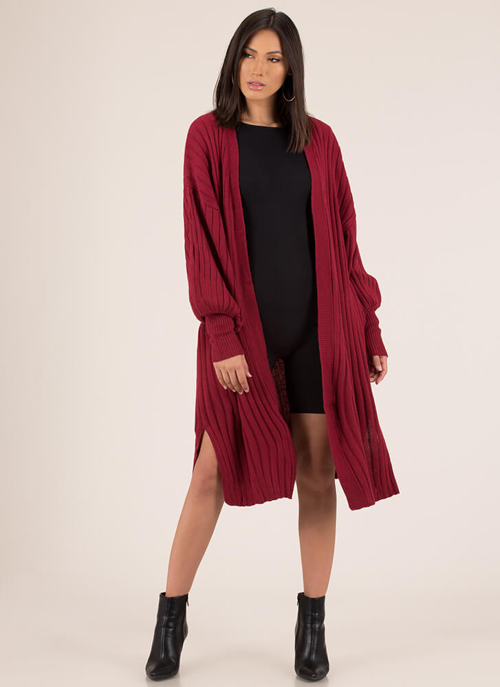 Warming Trend Puffy Sleeve Cardigan RED