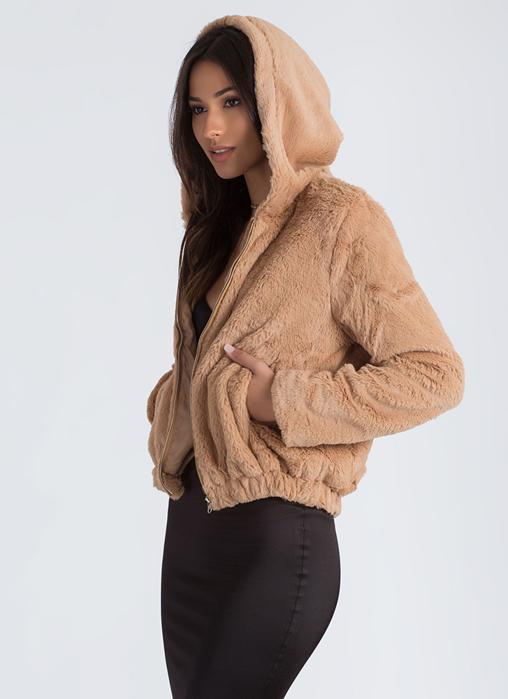 Going Soft Hooded Faux Fur Jacket KHAKI