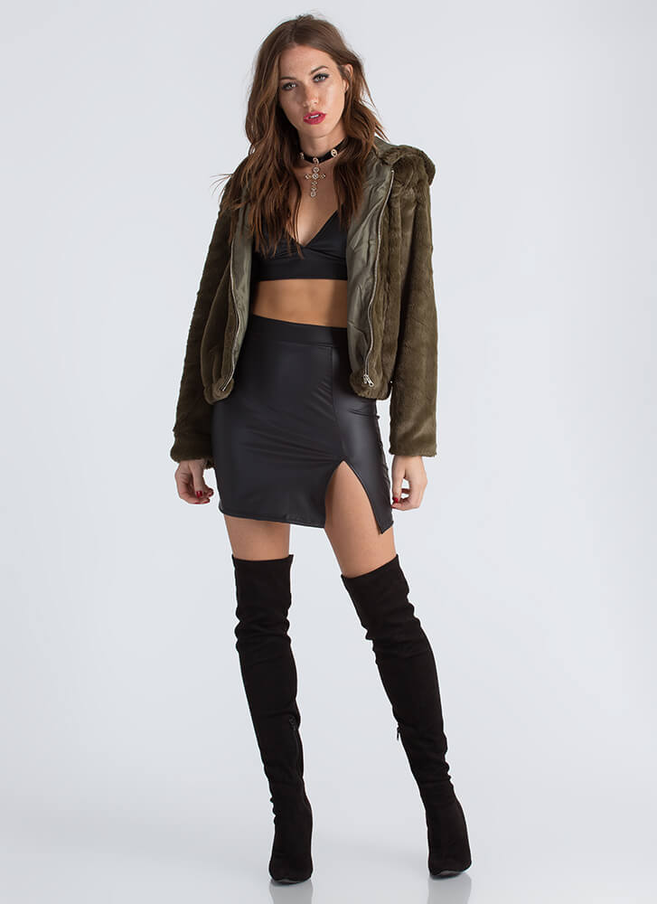 Going Soft Hooded Faux Fur Jacket OLIVE
