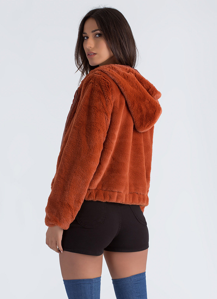 Going Soft Hooded Faux Fur Jacket RUST