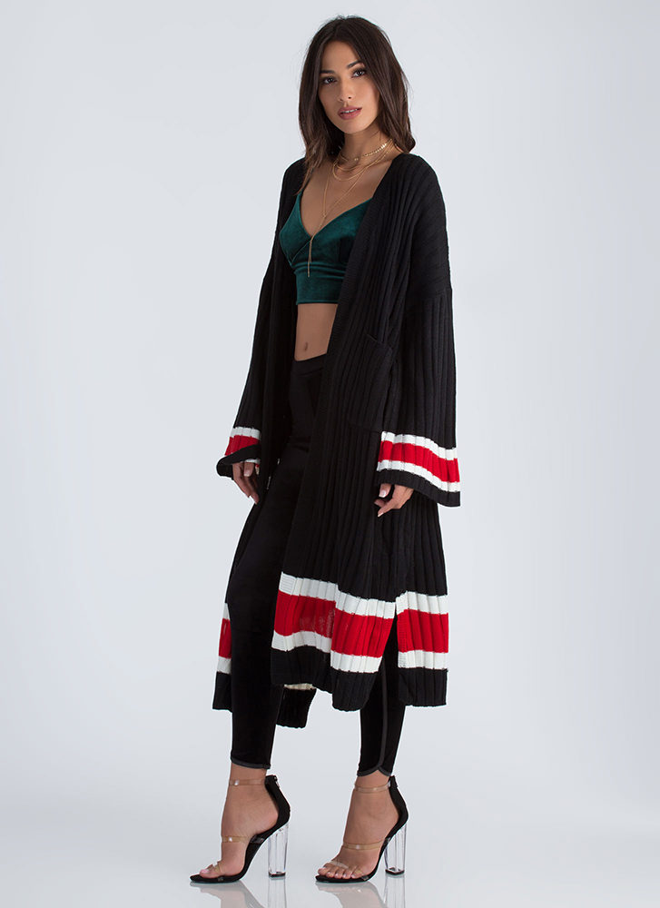 Athleisure Time Striped Duster Cardigan BLACK