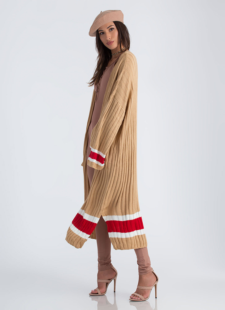 Athleisure Time Striped Duster Cardigan CAMEL