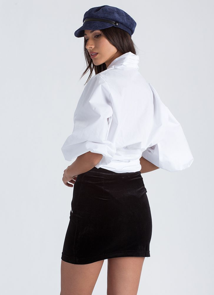 So Twisted Cropped Puff Sleeve Blouse WHITE