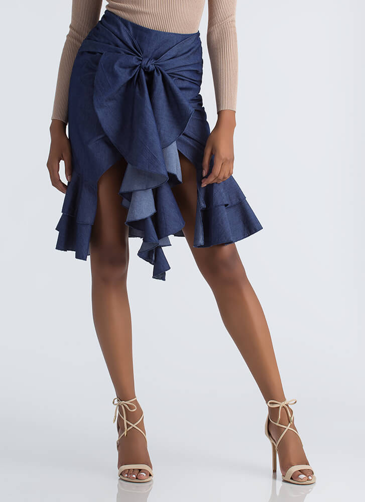 Party Ready Tied Ruffled Denim Skirt DKBLUE