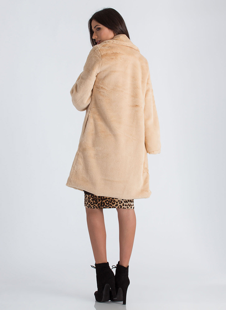 Plush Hour Thick Faux Fur Coat TAUPE