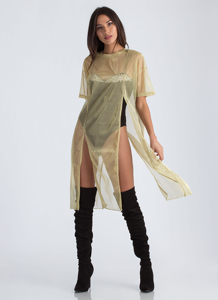 Show Me Yours Sparkly Slit Mesh Dress GOLD
