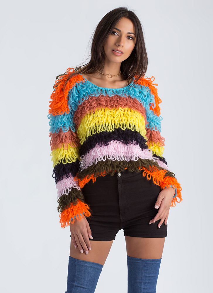 Jumping Thru Loops Striped Knit Sweater MULTI