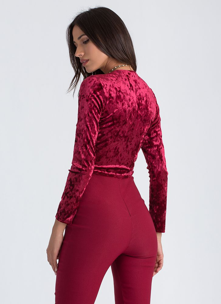Crushed It Velvet Tie-Front Crop Top BURGUNDY