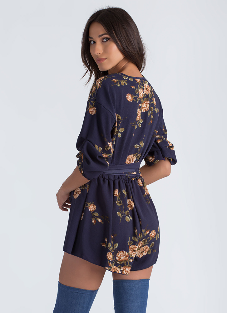 Floral Romance Puffy Sleeve Romper NAVY