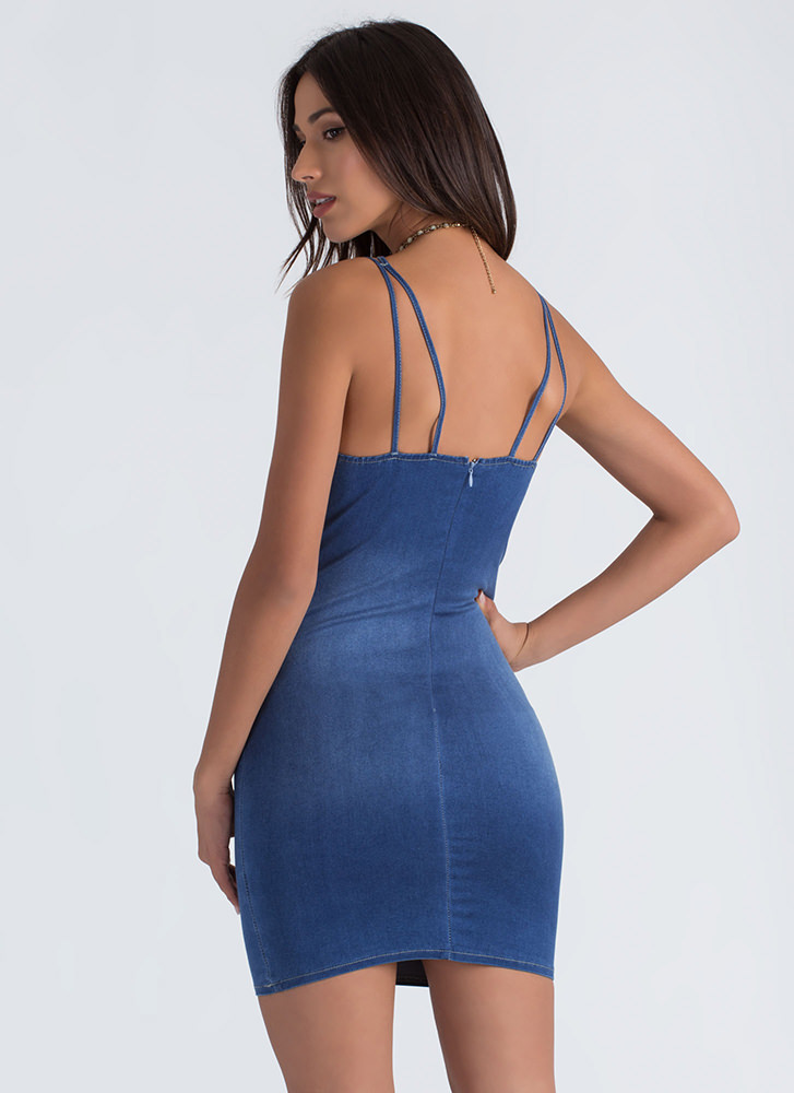 Put In A Caged Strappy Denim Dress BLUE