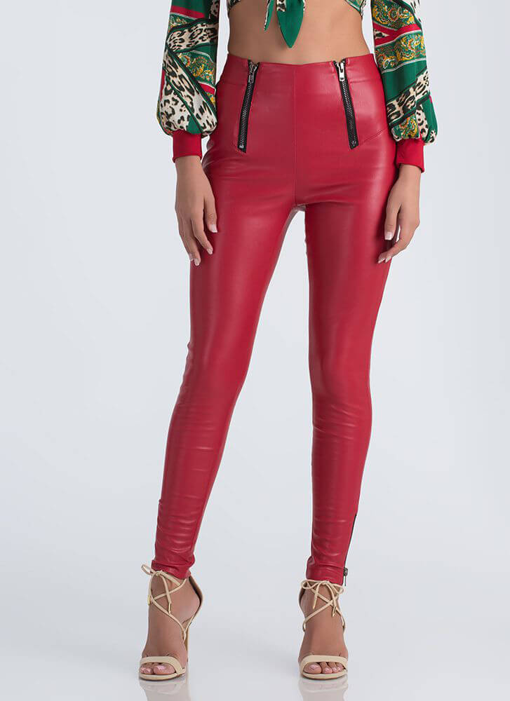 Zip Right Thru It Faux Leather Pants RED