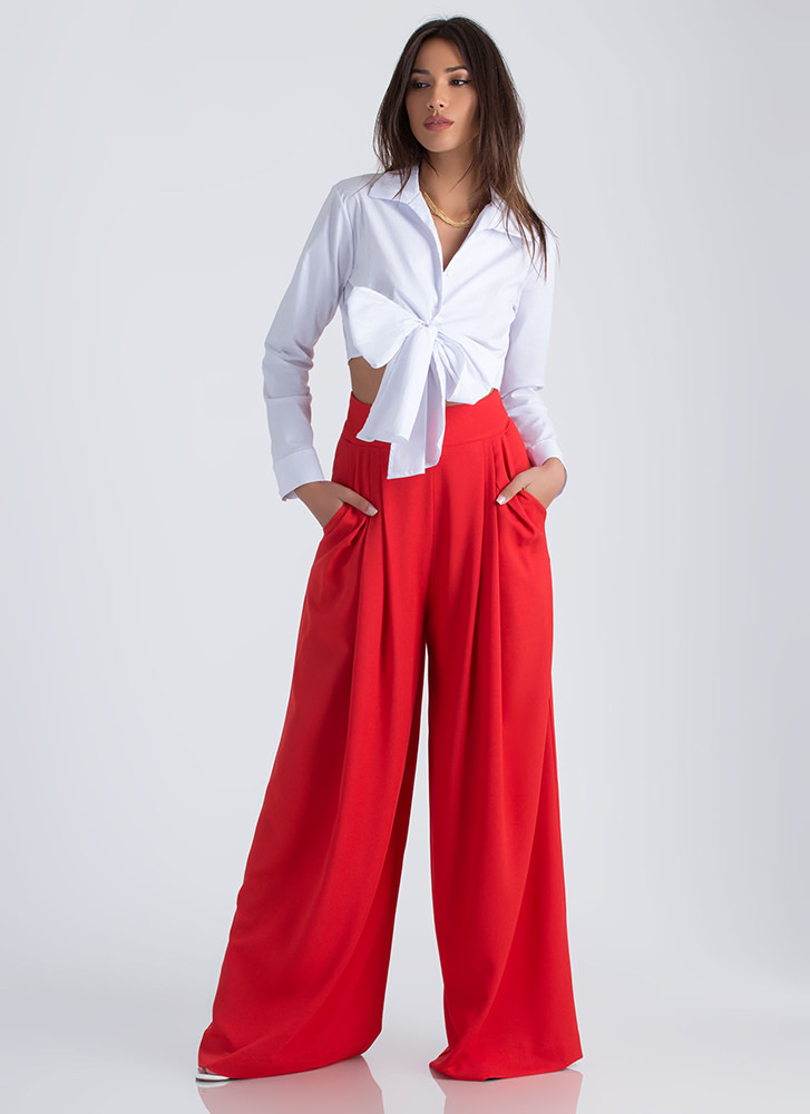 Business Or Pleasure Tied Cropped Blouse WHITE