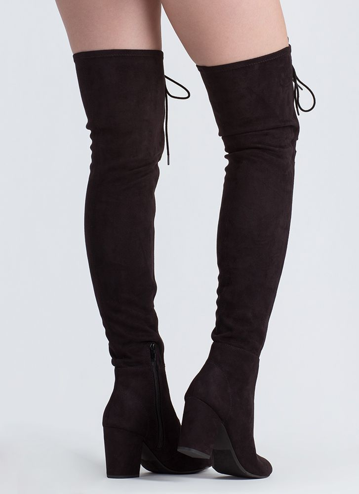 Extra Tall Tales Laced Thigh-High Boots BLACK