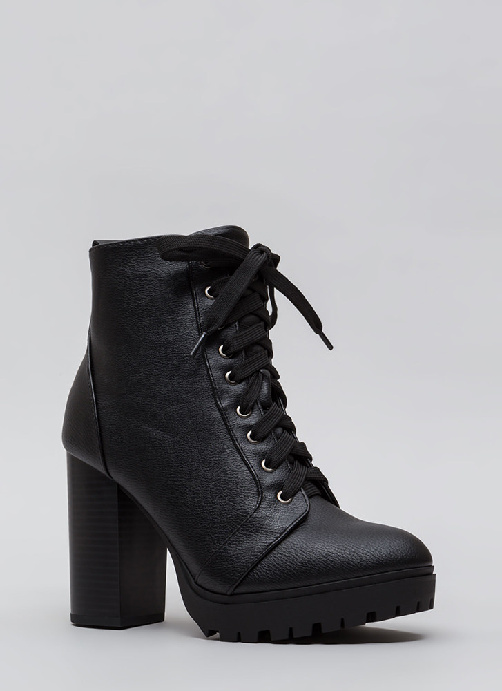 Street Chic Chunky Block Heel Booties BLACK