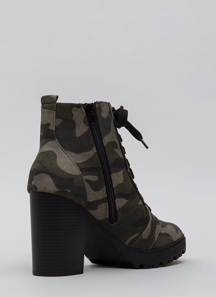 Street Chic Camo Block Heel Booties KHAKI (Final Sale)