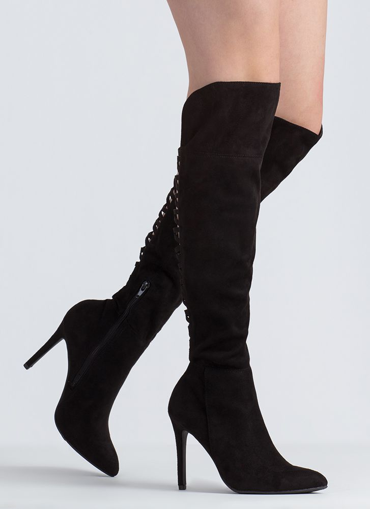 Split Second Pointy Thigh-High Boots BLACK