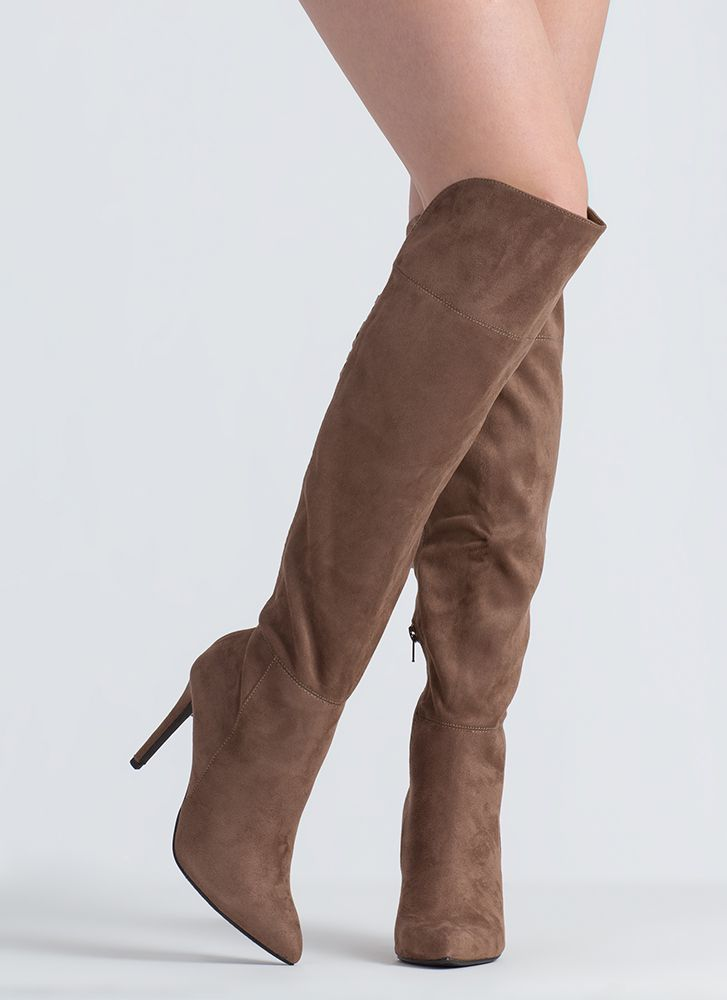 Split Second Pointy Thigh-High Boots DKTAUPE (Final Sale)