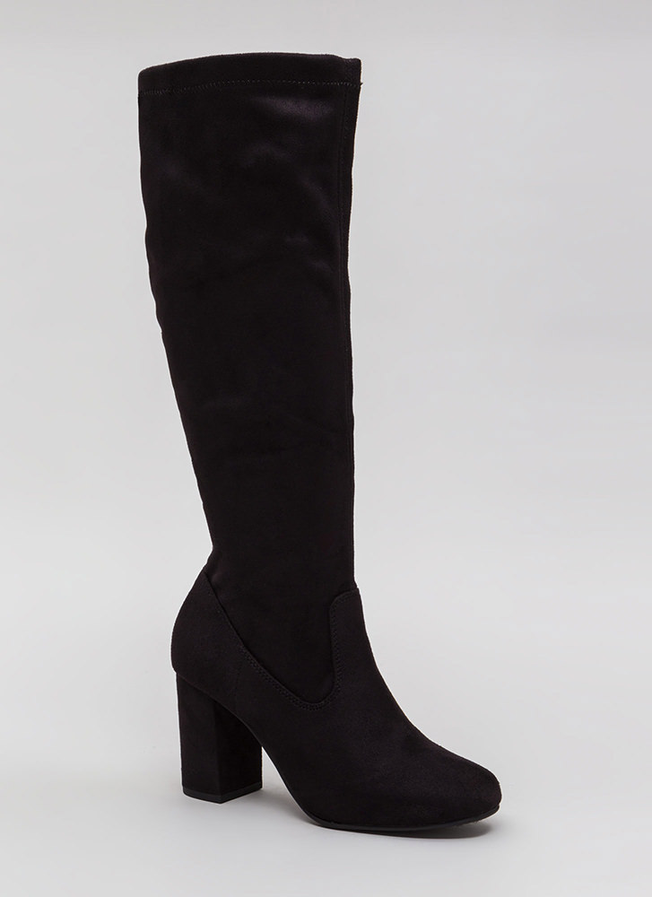 Easy A Chunky Faux Suede Boots BLACK