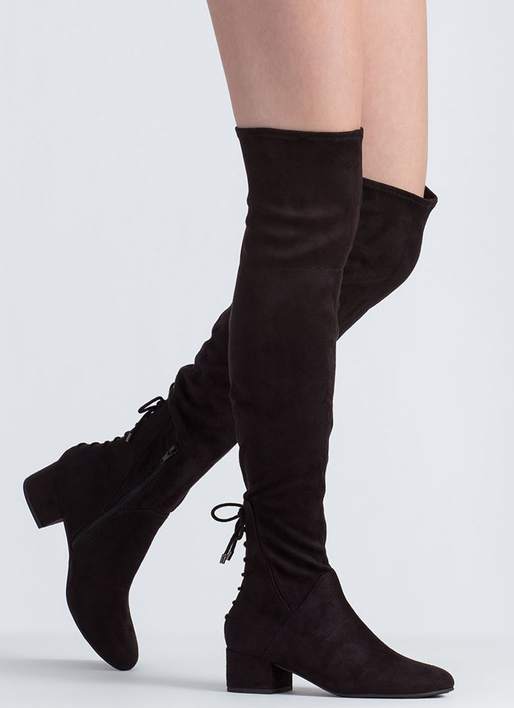 Gliding Thru Block Heel Thigh-High Boots BLACK