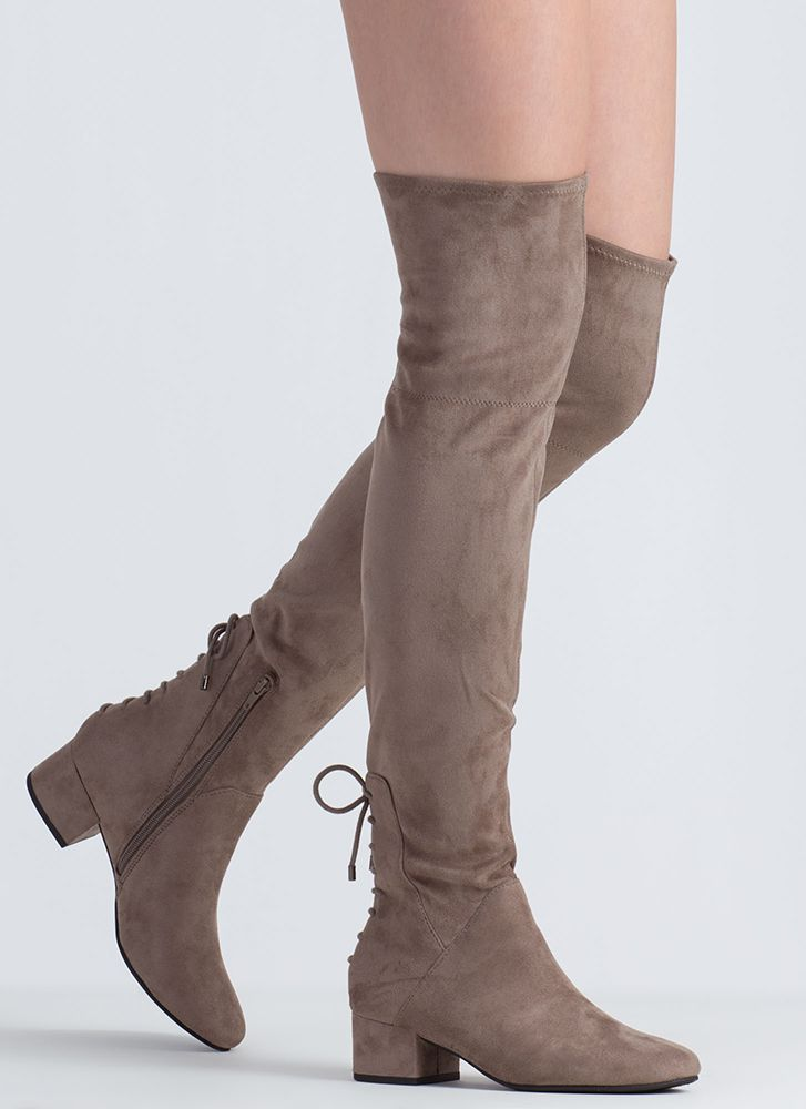 Gliding Thru Block Heel Thigh-High Boots TAUPE
