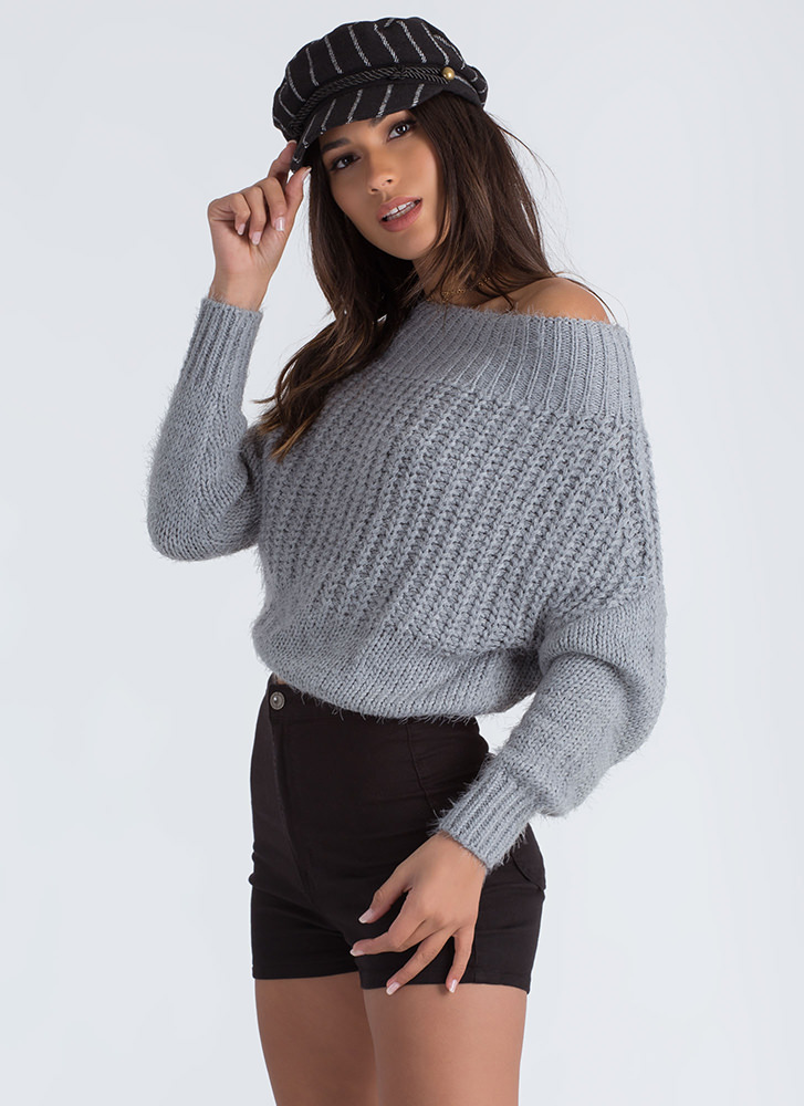 Fuzz Feed Off-Shoulder Knit Sweater GREY