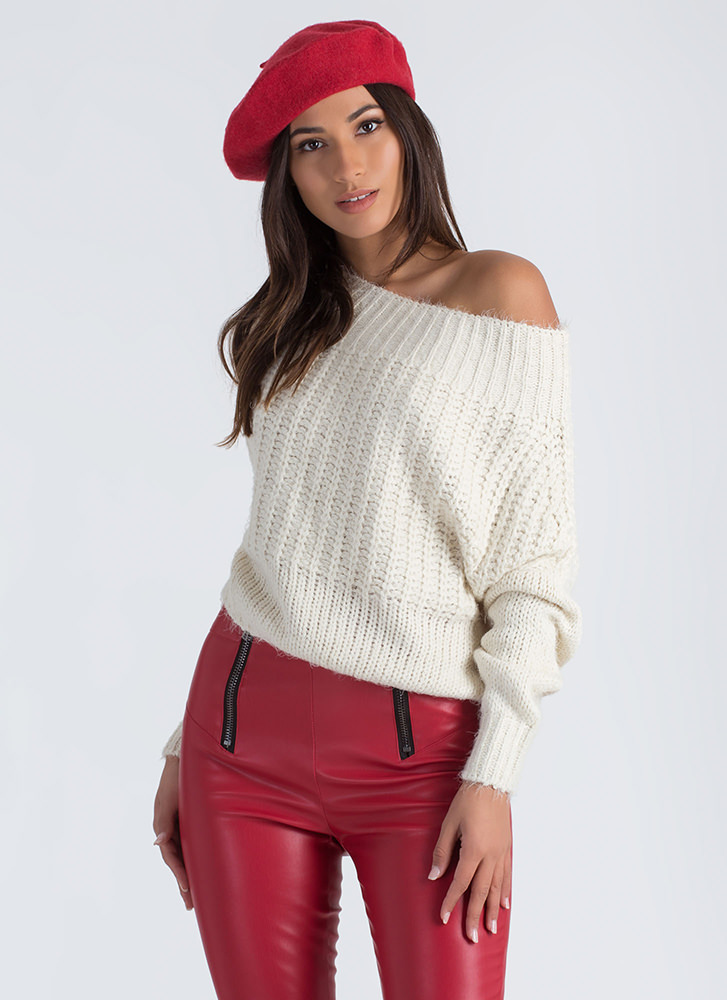 Fuzz Feed Off-Shoulder Knit Sweater IVORY
