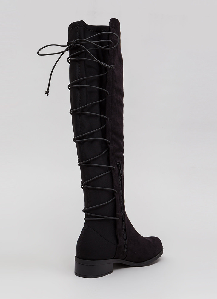 Pull Up Lace-Back Thigh-High Boots BLACK