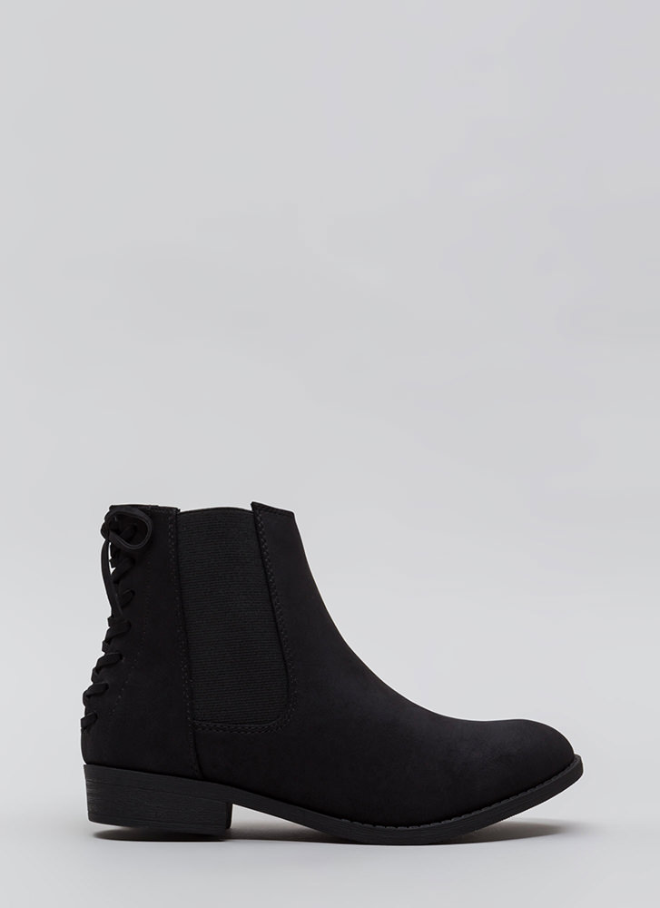 Short Notice Lace-Back Booties BLACK