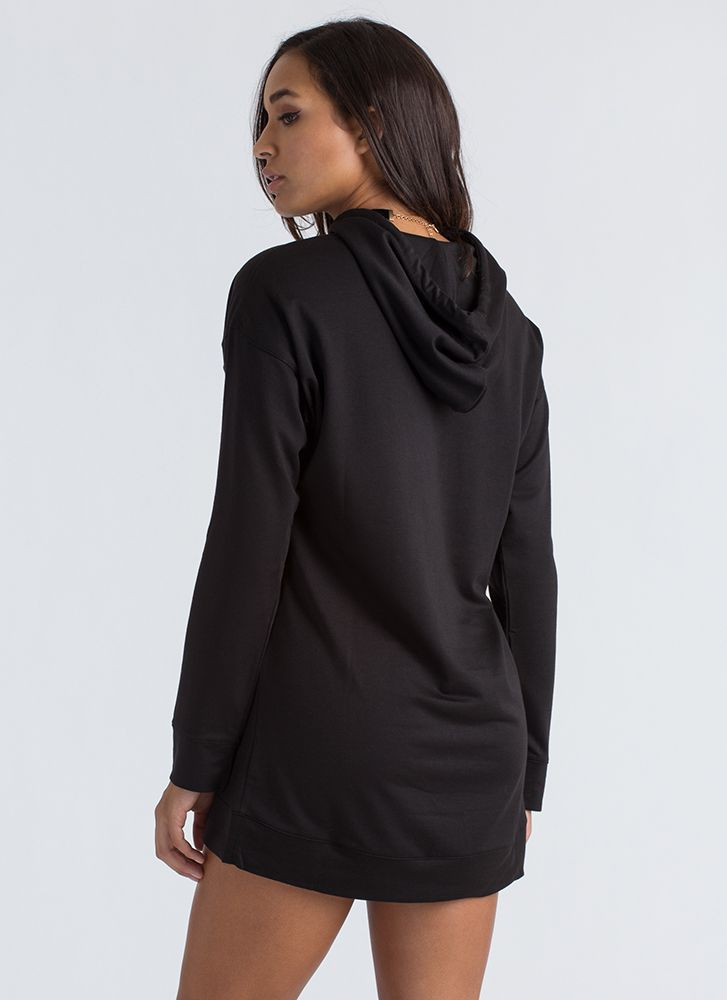 Cut That Out Hooded Sweatshirt Dress BLACK
